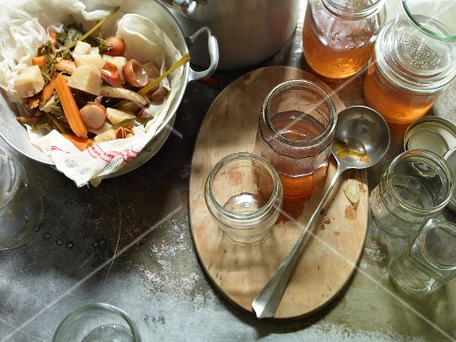 Homemade vegetable stock in jars