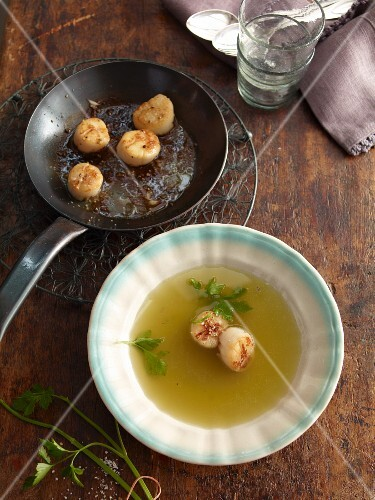 Celery broth with scallops