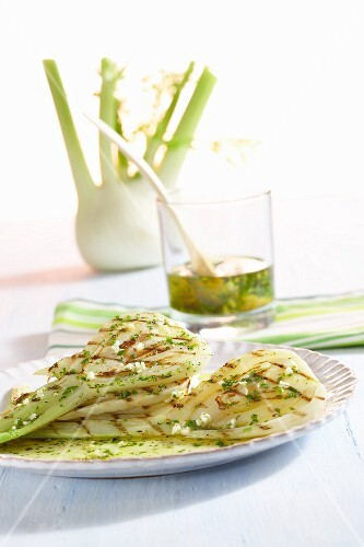 Marinated, grilled fennel with herb oil