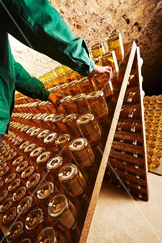 A worker moving bottles of champagne on a remuage rack (Schlumberger champagne producer's, Vienna, Austria)
