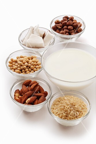 Ingredients for vegan milk: nuts, rice and legumes