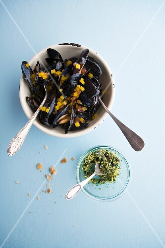 Mussels in a pumpkin and apple broth with ginger gemolate