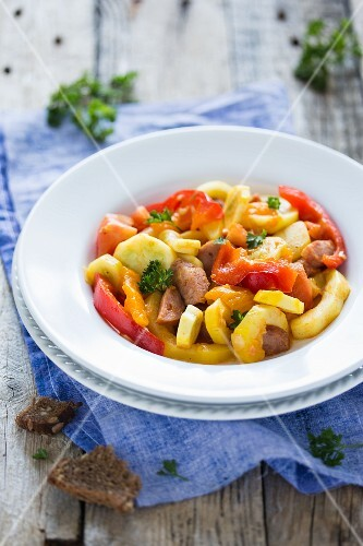 Hungarian lesco with vegetables and sausage