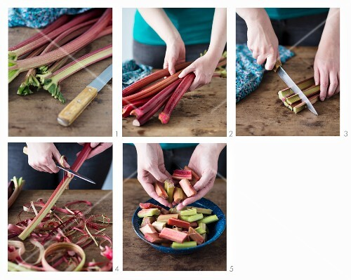 Rhubarb being prepared