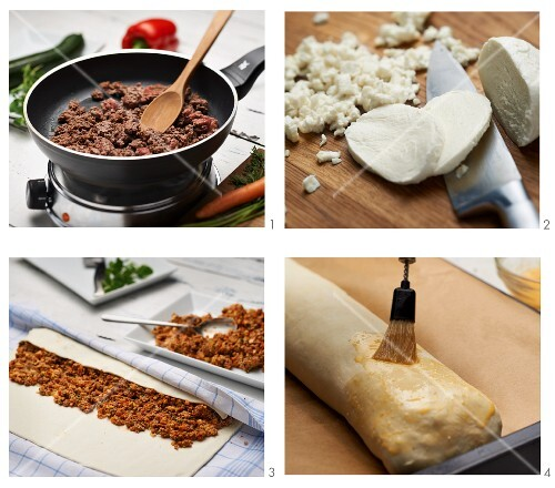 Minced meat strudel being made