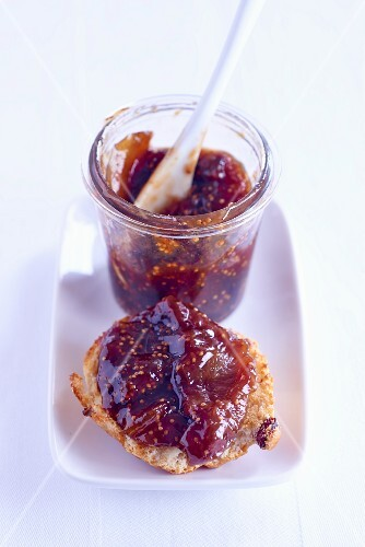 A scone with fig jam