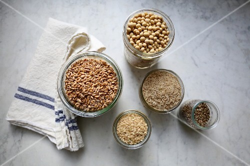 Basic ingredients for making vegan milk substitutes