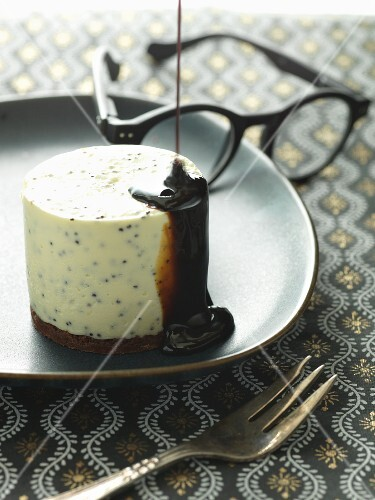 White chocolate mouse with brownie and liquorice