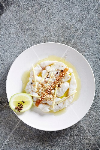 Ceviche with miso, ginger and Japanese pepper
