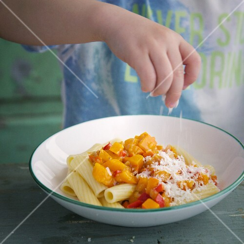 Penne pasta with pumpkin and Parmesan cheese