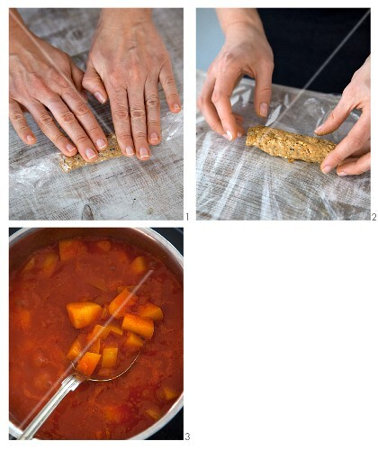 Spicy tempeh sausages with apple curry ketchup being made