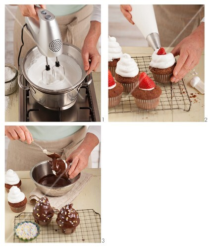 strawberry meringue cupcakes with a chocolate glaze being made from dark chocolate
