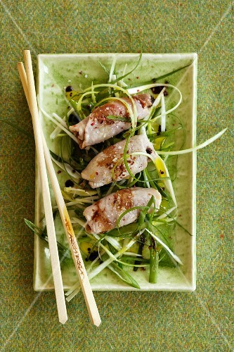 Steamed pork roulade with ginger and dried plums