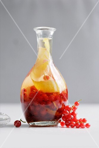Homemade redcurrant and ginger liqueur