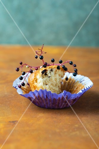 An elderberry muffin with a bite taken out