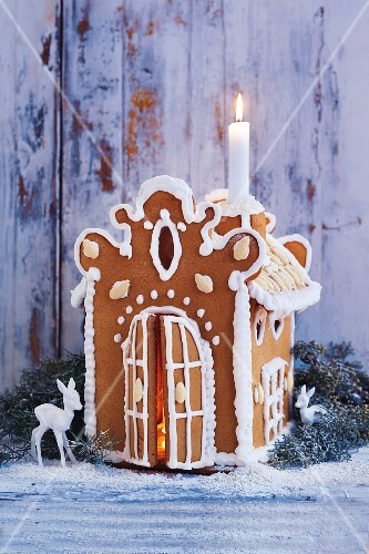 A homemade gingerbread house