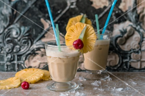 Coffee Colada with pineapple juice