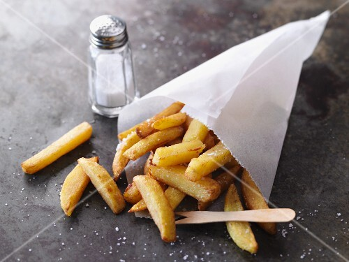 Homemade chips with salt