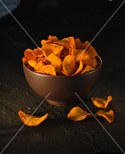 A bowl of sweet potato crisps