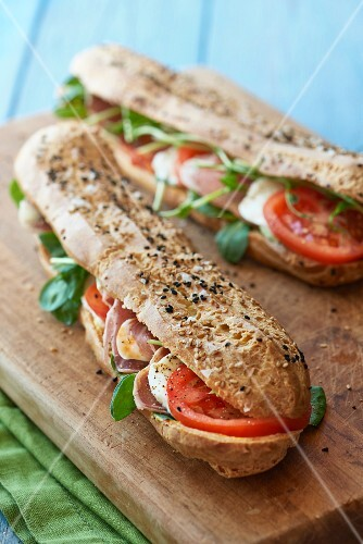 Ham, mozzarella and tomato baguettes