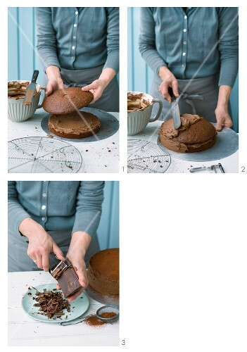 Classic chocolate cake being made