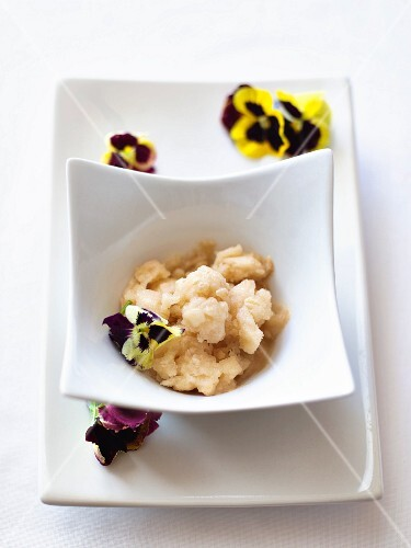 Pineapple and ginger granita with pansies