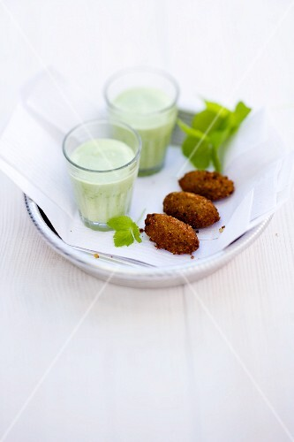 Avocado and elderflower lassi with coriander and spicy falafel