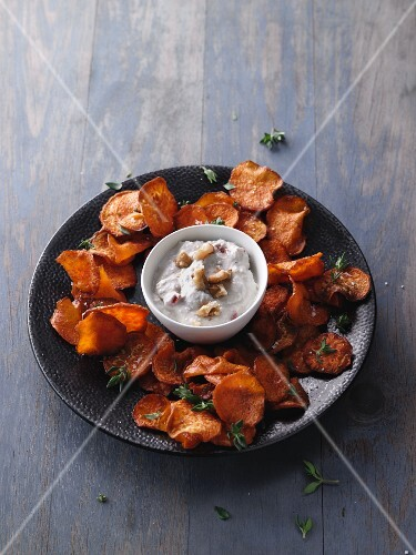 Oven-roasted sweet potato crisps with a walnut dip