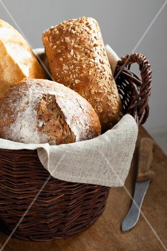 Various types of bread in bread basket