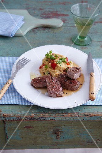 Flash-fried lamb medallions with chickpea purée