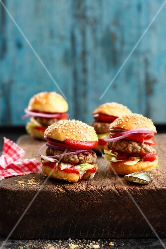 Mini hamburgers for a finger food party