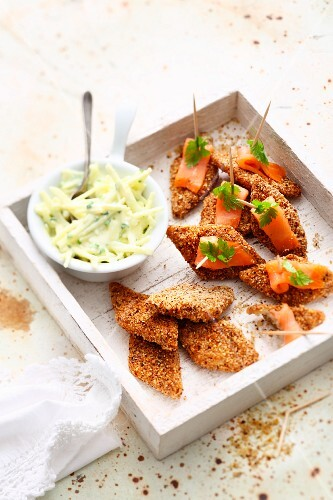 Mini celeriac escalopes in a nut coating with smoked salmon