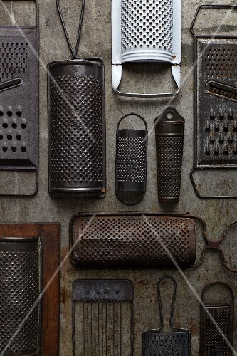 Various antique graters (seen from above)