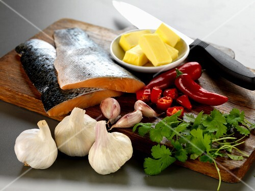 Ingredients are salmon with garlic, chilli and coriander