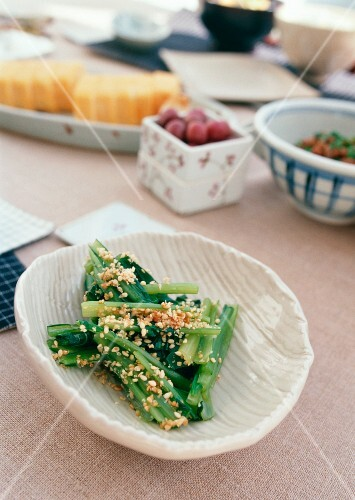 Japanese breakfast: chard with chopped peanuts