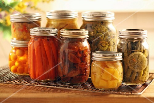 Pickled fruit and vegetables in screw-top jars