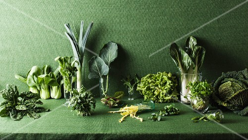 Assorted green vegetables on a green table