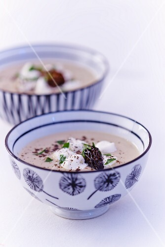 Soup made with morel mushrooms, button mushrooms and vanilla