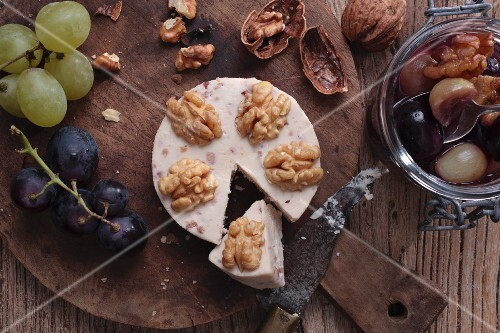 Walnut cheese from Germany with grape chutney