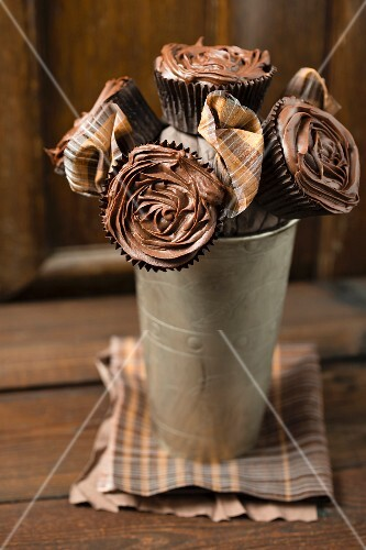 A bouquet of cupcakes with chocolate ganache roses
