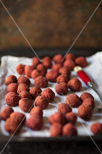 Beetroot falafel on a baking tray