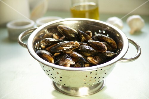 Mussels in a colander