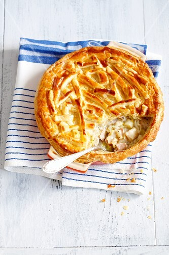 A ham, leek and celery bake with a puff pastry topping