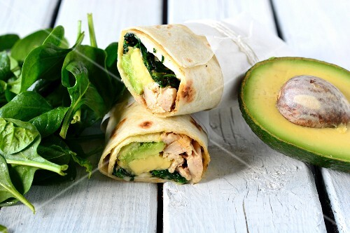 Chicken, spinach and avocado wraps