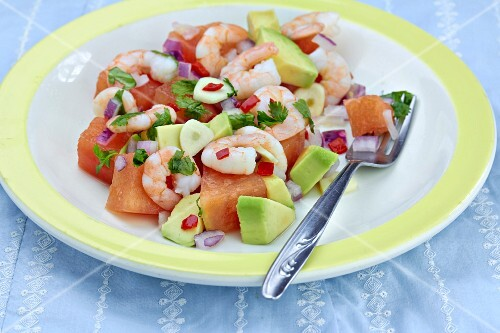 Prawn salad with watermelon avocado