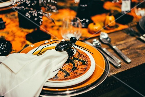 Halloween place setting on decorated table