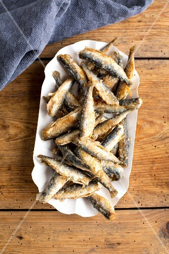 A plate of fried smelt