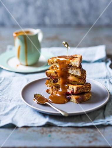 French toast sandwich with butterscotch sauce