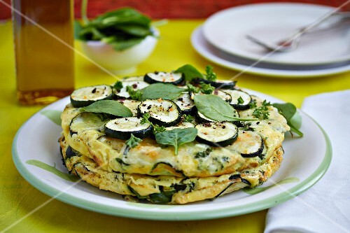 Courgette omelette with herbs