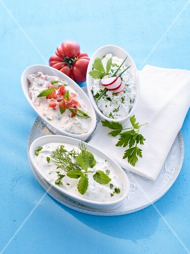 Herb quark with chives, a mint dip and a tomato and yoghurt sauce